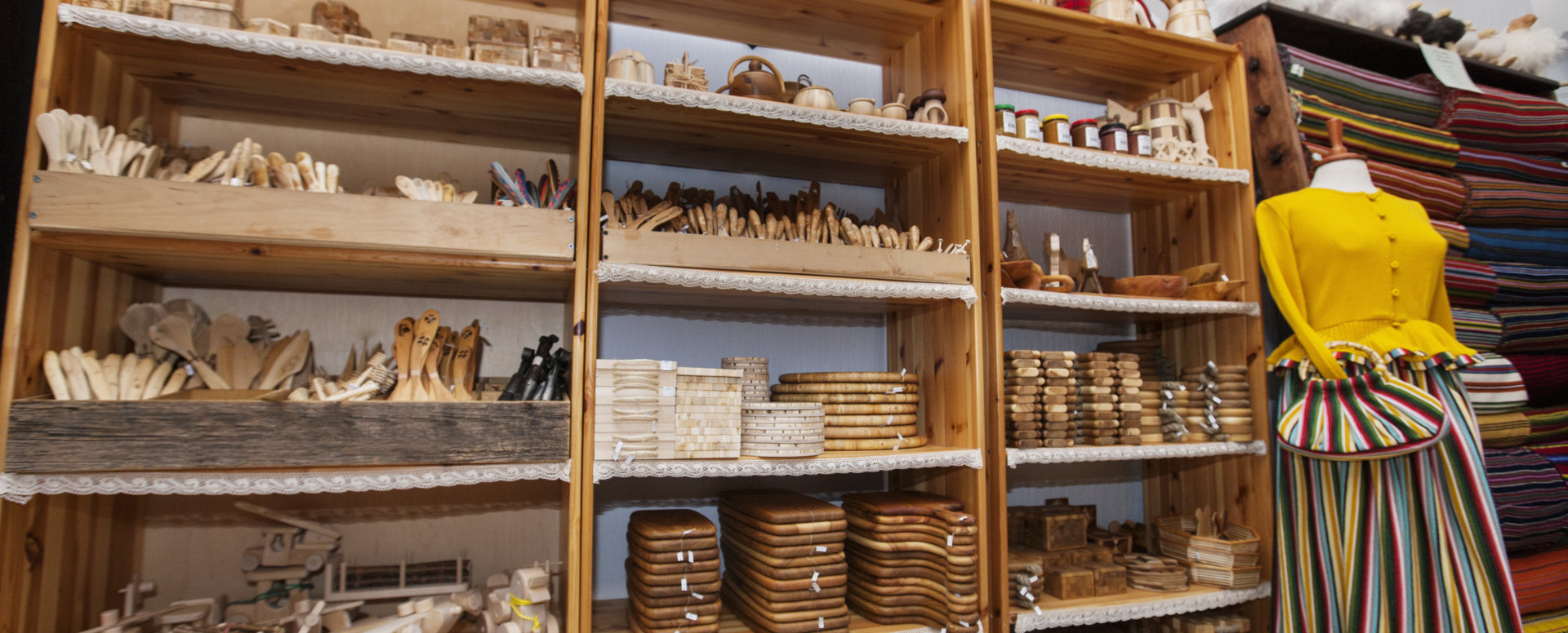 shelf full of wooded products