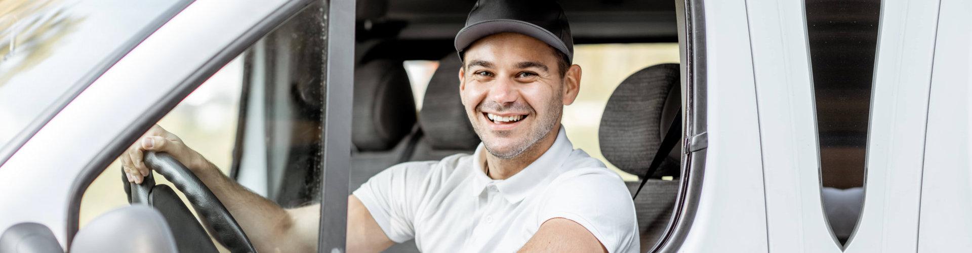 deliveryman smiling