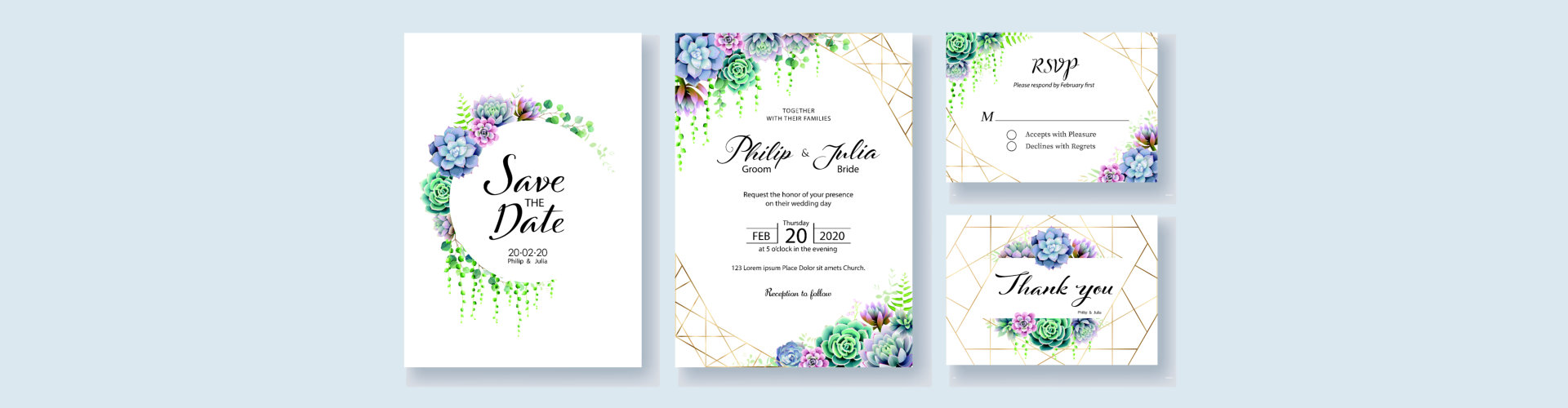 Greenery, succulent and branches Wedding Invitation card, save the date, thank you, rsvp template.