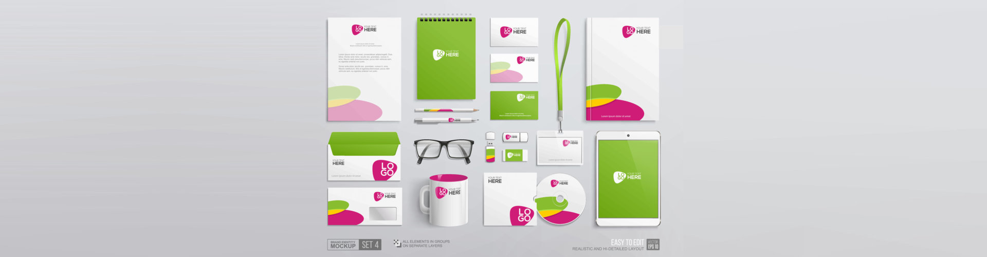 Green and pink corporate graphics on annual report cover, notepad, envelope, blank, business card, mug, usb. Business Office stationery mockup template